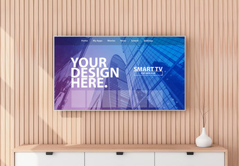 Smart TV on Wooden Wall Mockup