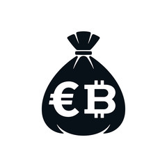 Money bag icon with euro symbol and bitcoin