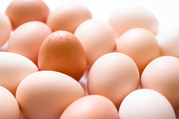 Brown and white eggs, soft focus, close up
