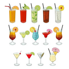 Big collection of cocktails. Daiquiri, Mojito, Pina colada, Margarita, beach sex, Martini, bloody Mary. vector illustration. isolated objects.