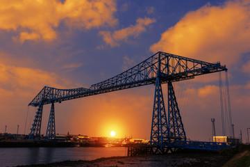 ees Transporter Bridge at Dusk in Middlesbrough, North East of England.