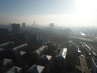 Panorama copter Moscow sity view