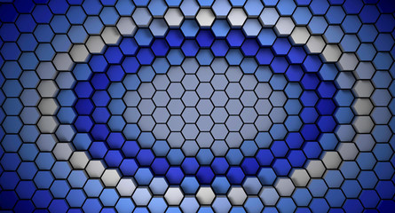 Wall Mural - blue and white material hexagons background template. 3d Render