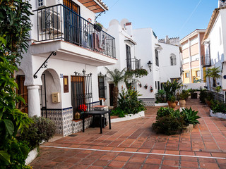 Typical architecture in the Andalucian seaside resort of Nerja  in the Costa del Sol of Spain