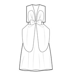 Ladies Dress with Bow Vector Template