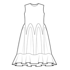 Ladies Tank Dress Vector Template