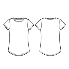 Ladies Crew Neck Tee Vector Template