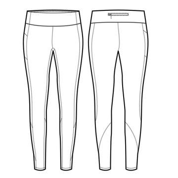 Ladies Full Length Legging Vector Template