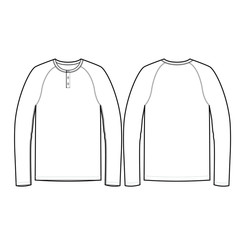Mens Long Sleeve Henley Vector Template