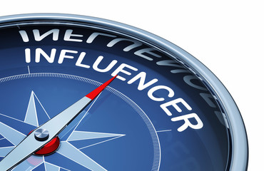 3D rendering of an compass with the word influencer
