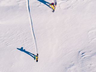 Athlete snowboarder rides off-piste clean snow snowboard, untouched in forest on slope. Aerial top view