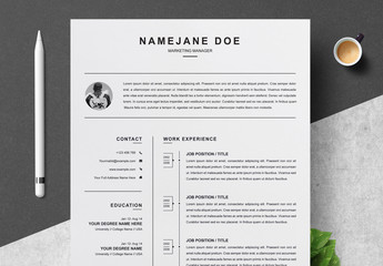Black and White Resume and Cover Letter Layout