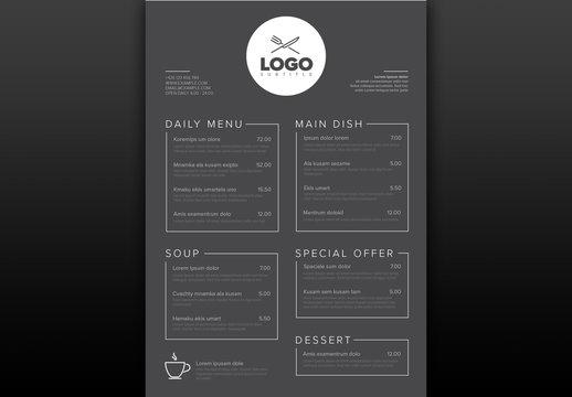 Dark Gray Restaurant Menu Layout with Line Art Illustrations