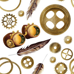 Bright steampunk seamless pattern, 19th-century industrial background