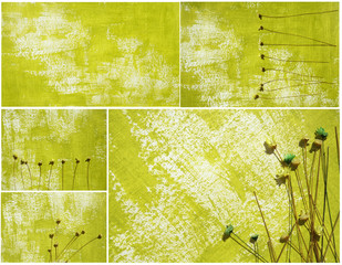 green color abstract and dried fllowers artwok as background