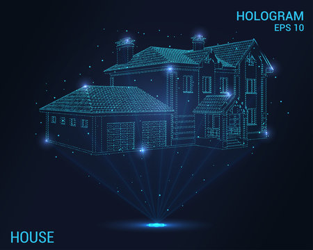 Hologram house. Digital and technological house. Futuristic house design.
