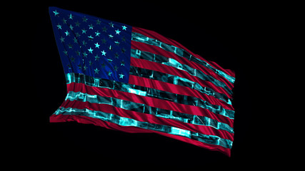 3d rendering of american flag made in cyber style. The flag develops smoothly in the wind