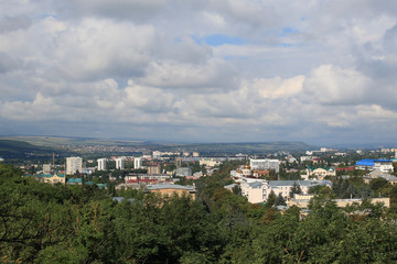 Panoramic view of Pyatigorsk town from Mashuk Mountain in a summer day. Stavropol Region, Russia