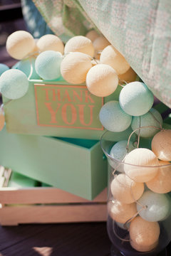 cotton lights in wooden box