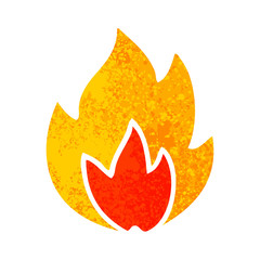 retro illustration style cartoon fire