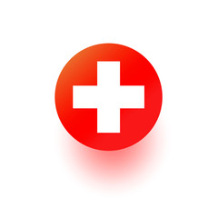 Red Cross vector icon, hospital sign. Medical health first aid symbol isolated on vhite. Modern gradient design.