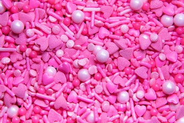 Full frame pink heart sprinkles,