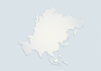 Asia continents map blue white paper 3D blank
