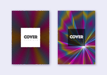 Hipster cover design template set. Rainbow abstrac