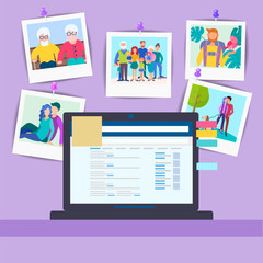 Workplace with a laptop and memorable family photos pinned to the wall.