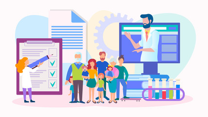 The results of medical examination and analysis online, medical consultation on the Internet, the concept of family web doctor. Vector illustration.