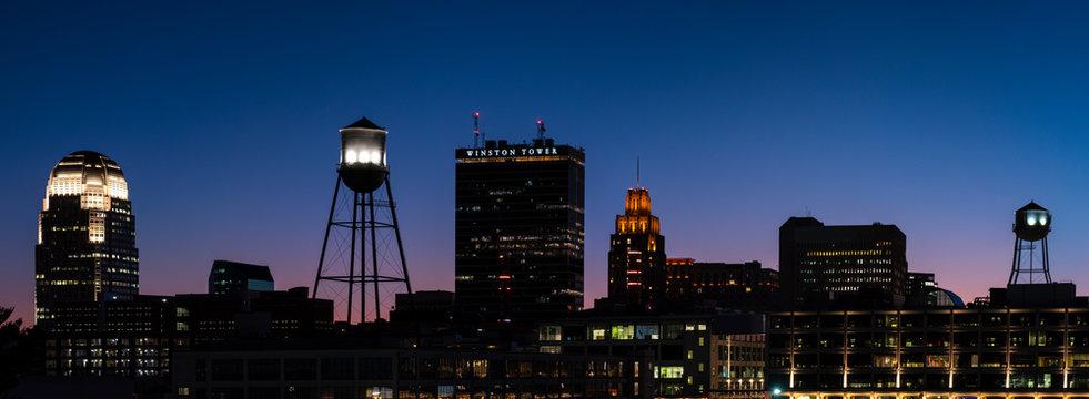Panorama of the Winston Salem skyline against a beautiful night sky