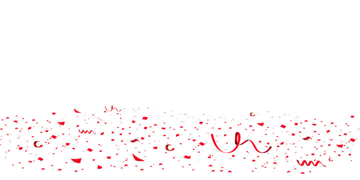Falling bright red Glitter confetti, stars celebration, serpentine. Colorful confetti flying on the floor. Isolated Holiday background. Festive vector illustration. Celebration Event, Party.