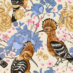 Fotobehang Botanisch Vector colorful pattern with birds and flowers. Hoopoes and flowers, retro style, floral backdrop. Spring, summer flower design for web, wrapping paper, cover, textile, fabric, wallpaper, web