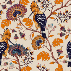 Foto op Aluminium Botanisch Vector colorful pattern with birds and flowers. Hoopoes and flowers, retro style, floral backdrop. Spring, summer flower design for web, wrapping paper, cover, textile, fabric, wallpaper
