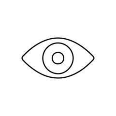 Flat line monochrome eye icon for web sites and apps. Minimal simple black and white eye icon. Isolated vector black eye icon on white background.