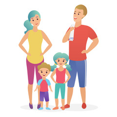 Sport fitness happy family. Dad, mother, son and daughter lead a healthy lifestyle flat vector illustration.