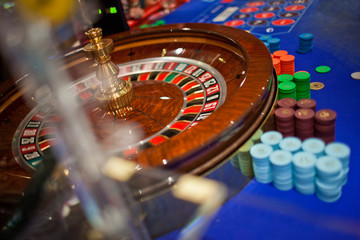 Roulette wheel in a casino.