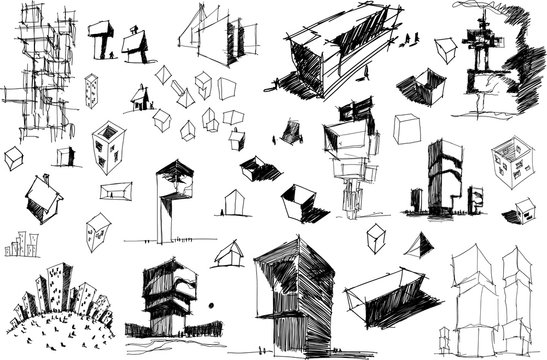 many hand drawn architectectural sketches of a modern abstract architecture nad geometric objects and urban ideas and drafts