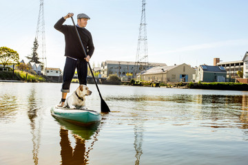 Middle aged man paddleboarding on a lake with his dog.