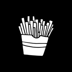 Cute cartoon hand drawn french fries drawing. Sweet vector black and white french fries drawing. Isolated monochrome doodle french fries drawing on black background.