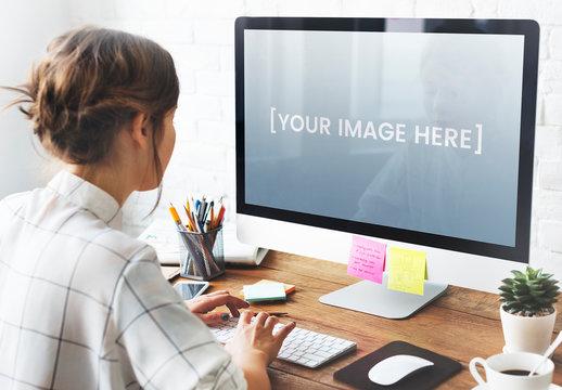 Desktop Computer User at Desk Mockup