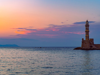 Old lighthouse at sunset - Chania, Greece