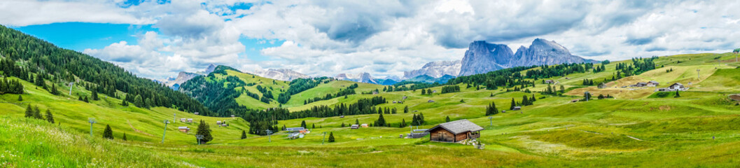 Foto auf Leinwand Himmelblau Alpe di Siusi, Seiser Alm with Sassolungo Langkofel Dolomite, a close up of a lush green field in a valley canyon panorama