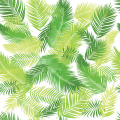 Artistic palm seamless pattern. Leaves, herbs background, drawn backdrop, green grass tropic texture