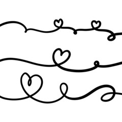 Set of hearts drawn with line and isolated on background. Can be used for greeting cards, posters, or other elements. Vector Illustration EPS