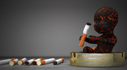 Representation of the health effects of cigarette smoking in the newborn, child, fetus, during pregnancy, 3d illustration, conceptual illustration, metaphor.