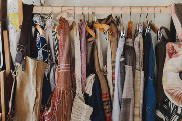 Vintage,Clothes hanging on wooden rails