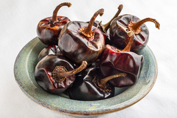 Cascabel Chili Peppers in a Bowl
