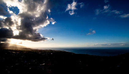 fantastic far view with lighting over Tenerife