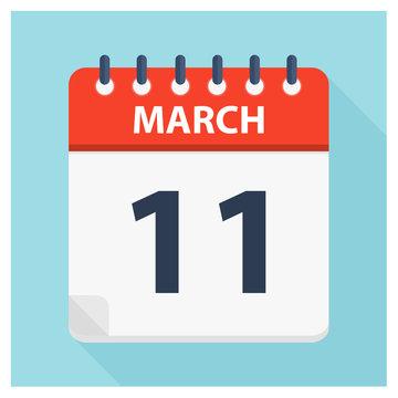 March 11 - Calendar Icon - Calendar design template
